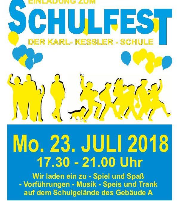 SCHULFEST – Montag, 23.07.2018