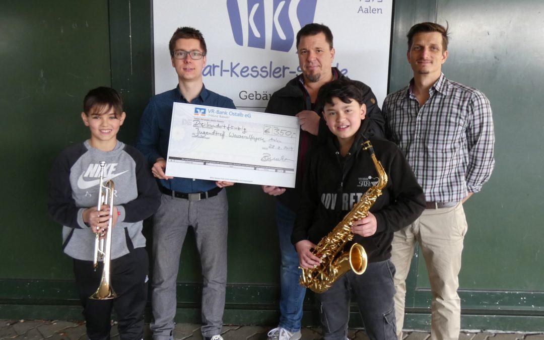 Musiker der KKS spenden für Jugendtreff Wasseralfingen